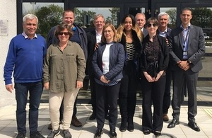 LIne up of representatives from four radioactive waste agencies across Europe, including LLWR, in France.