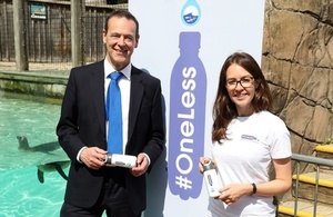 Sir Simon McDonald (Permanent Under-Secretary, FCO) with Rachel Shairp (#OneLess Campaign Coordinator and Project Manager at ZSL) at ZSL London Zoo