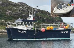 Composite photograph of Fram of Shieldaig and the tender