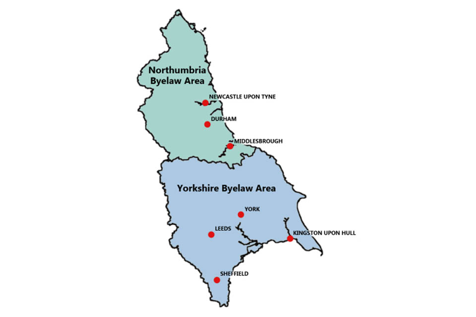 Map showing the Northumbria and Yorkshire byelaw areas