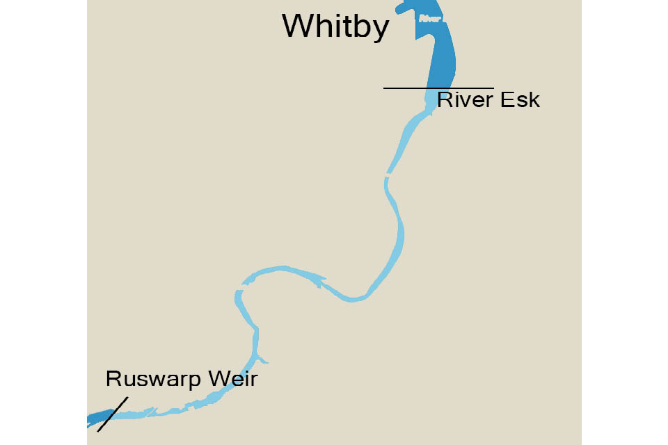 Map showing the part of the River Esk where rod and line fishing for salmon or migratory trout is banned