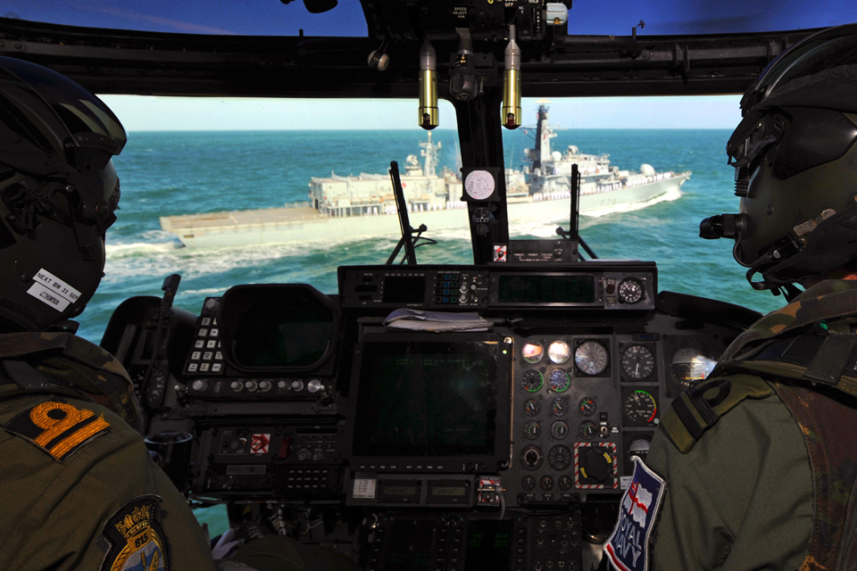 Inside the cockpit of HMS Kent's Lynx helicopter
