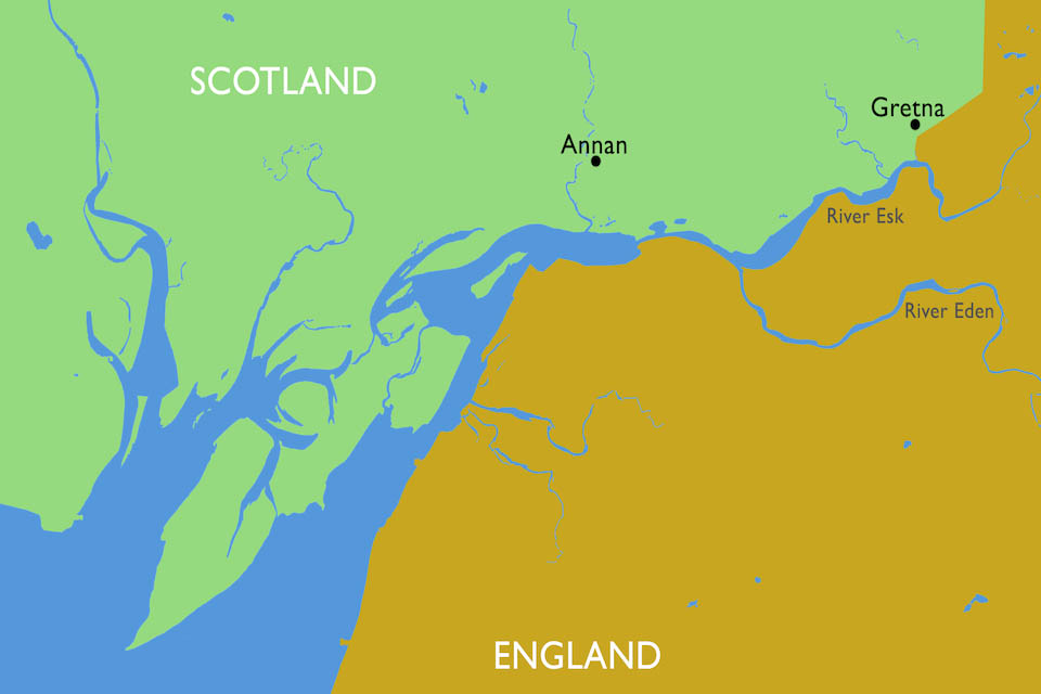 Map showing the Upper Esk, commonly known as the 'Border Esk' which marks the border between England and Scotland.
