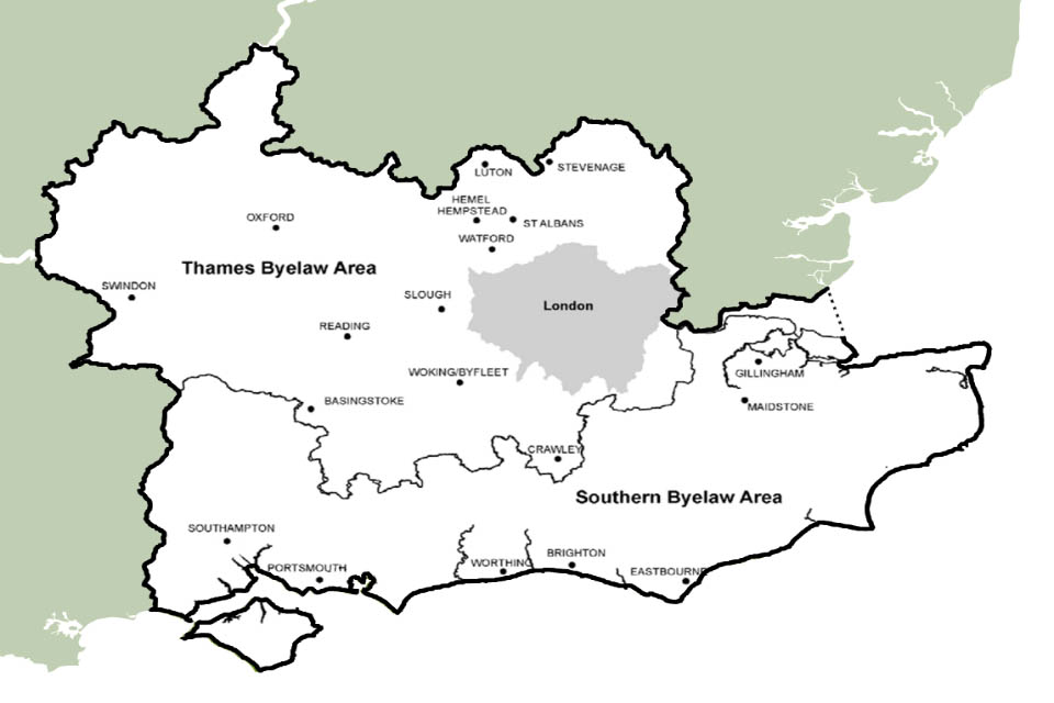 Map showing the South East region including the Thames