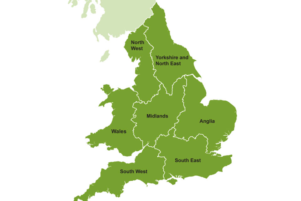 Map showing the different regions in England