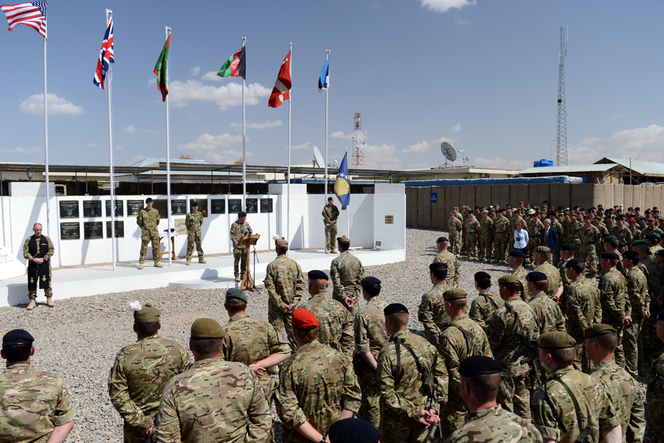 The handover ceremony at the headquarters of Task Force Helmand