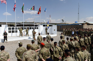 The handover ceremony of 4th Mechanized Brigade to 1st Mechanized Brigade at the headquarters of Task Force Helmand in Lashkar Gah [Picture: Sergeant Barry Pope, Crown copyright]