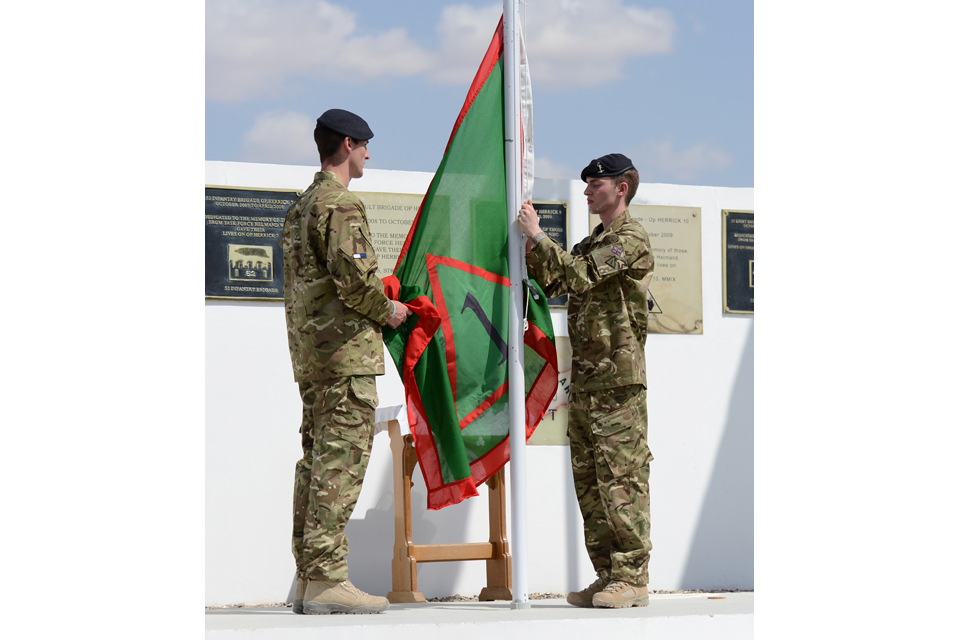 1st Mechanized Brigade's flag is ready to be raised