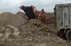 Rock crushing equipment on a site in Hertfordshire