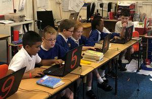 Pupils at Castle Newnham Primary School explore Minecraft simulation