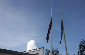British flag at half-mast in Kigali in memory of victims of 1994 genocide