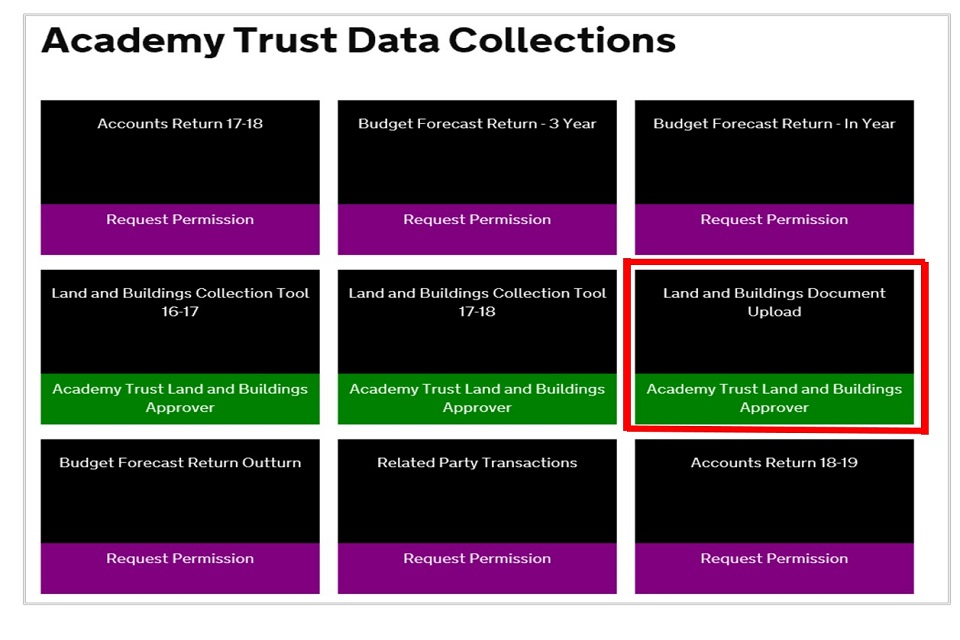 Land and buildings collection tool summary guidance for academies