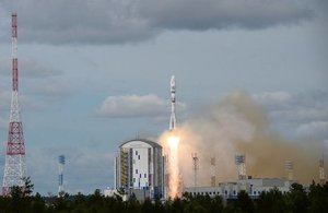 An image of the Roscosmos Soyuz rocket launching into space