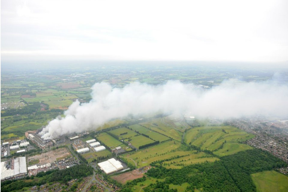 Aerial view of one of the fires