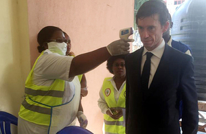 International Development Secretary, Rory Stewart MP, has his temperature checked at an Ebola Virus Disease screening point in Goma, Democratic Republic of the Congo, on the border crossing with Rwanda