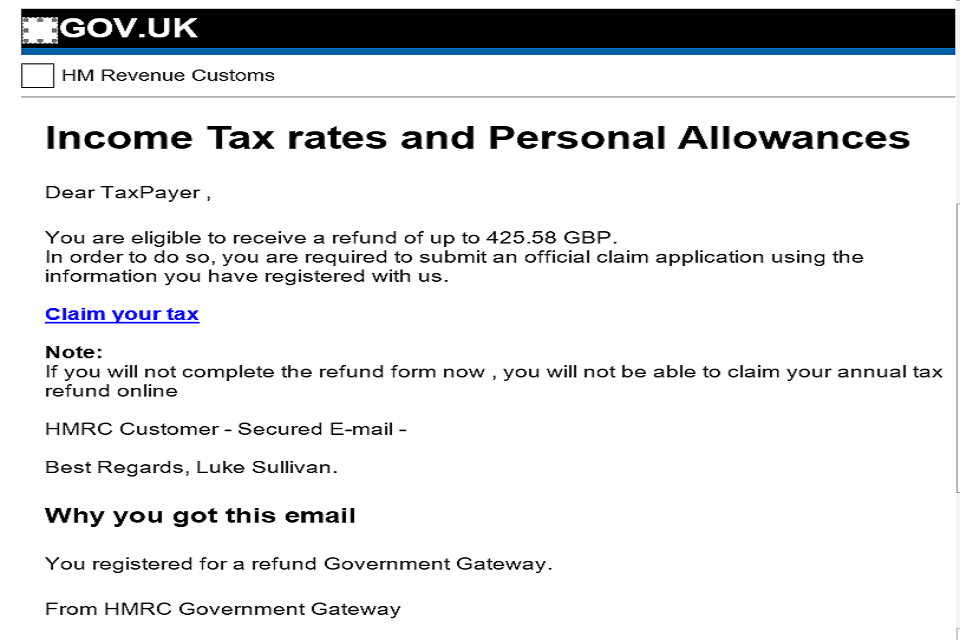 Example of a HMRC related phishing email scam