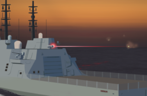 A Computer Generated Image illustrating the use of Directed Energy Weapons on a Type 26 Frigate