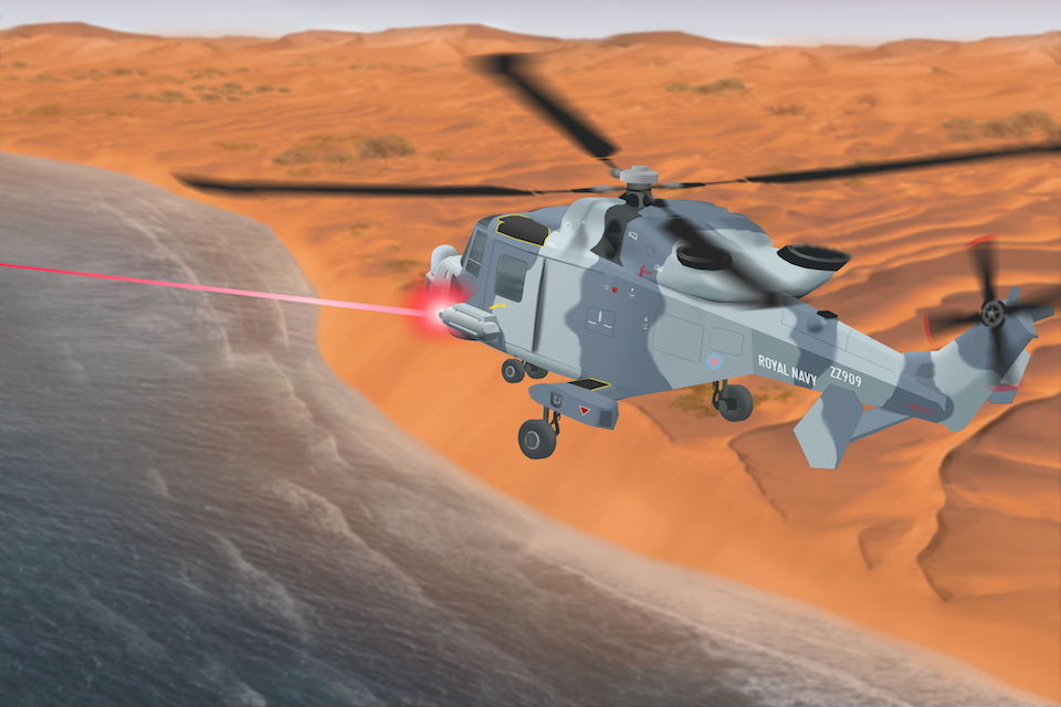 Computer Generated Image illustrating the use of DEW on a Wildcat helicopter.
