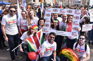 Embassy staff marched to support the promotion of diversity and respect for LGBTI rights in Chile.