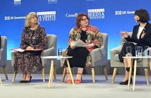 International Development Minister Harriett Baldwin at the Global Conference for Media Freedom