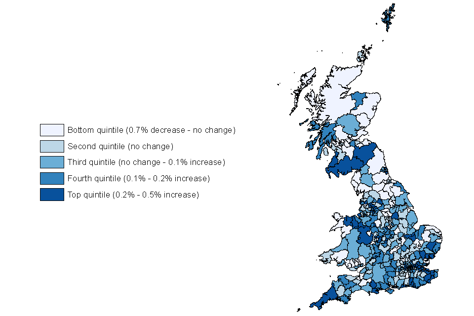 Change in claimant unemployment rate by local authority (quintiles), May 2018 to May 2019, not seasonally adjusted