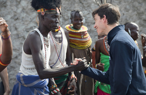 International Development Secretary Rory Stewart greets a community member in Loiyangalani, Kenya. Picture: Will Crowne/DFID