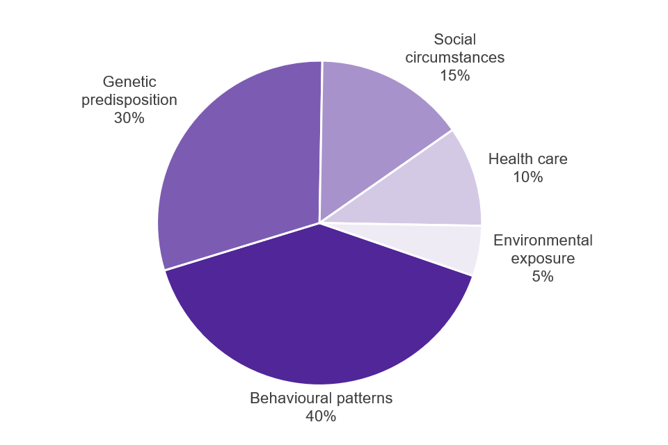 The contribution of health determinants to premature mortality from a study by McGinnis and others, 2002: behavioural patterns 40%, genetic predisposition 30%, social circumstances 15%, healthcare 10%, environmental exposure 5%.