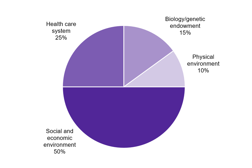 The contribution of health determinants to health status from a study by the Canadian Institute of Advanced Research, 2002: social and economic environment 50%, healthcare system 25%, biology/genetic endowment 15%, physical environment 10%.