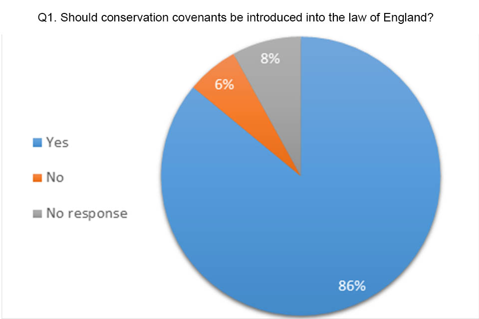 Pie chart showing answers to question 1. 86% said yes, 8% didn't respond and 6% said no to introducing conservation covenants in England.