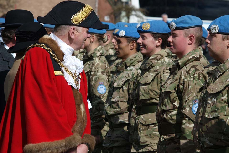 Wrexham's Lord Mayor inspects soldiers