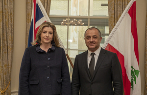 Lebanese Minister Elias Bou Saab with UK Secretary of State for Defence Penny Mordaunt
