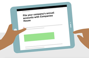 Image from our animated campaign showing a tablet with 'File your company's annual accounts with Companies House' on the screen.
