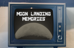 Image of 1960 style TV with an image of the Moon and 'Moon Memories'