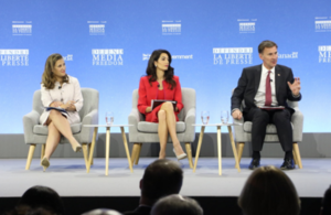 Chrystia Freeland, Canadian Minister of Foreign Affairs, Amal Clooney, UK Special Envoy on Media Freedom, and Jeremy Hunt, the UK Foreign Secretary