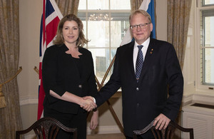 Defence Secretary Penny Mordaunt and her Swedish counterpart Peter Hultqvist sign a landmark agreement to partner on future combat air