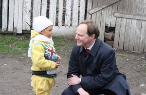 British Ambassador Martin Harris meets Roma children in Frumusani, Romania