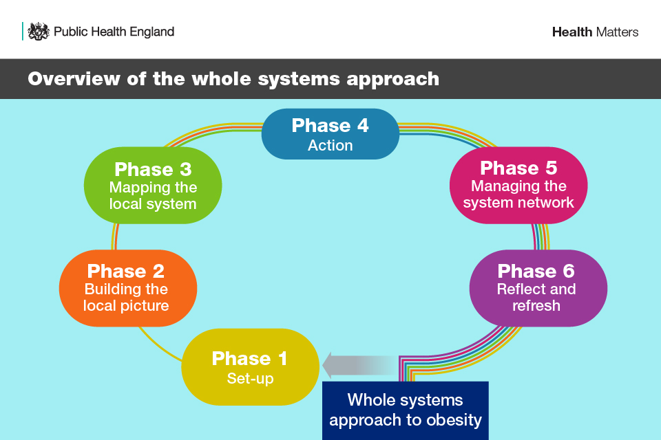 Overview of the whole systems approach - the 6-phase process. Phase 1 is set-up, phase 2 is building the local picture, phase 3 is mapping the local system, phase 4 is action, phase 5 is managing the system network and phase 6 is reflect and refresh.