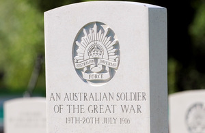 The headstone on an Australian soldier's grave at the Commonwealth War Graves Commision cemetery in Fromelles, northern France [Picture: Petty Officer (Photographer) Mez Merrill, Crown copyright]