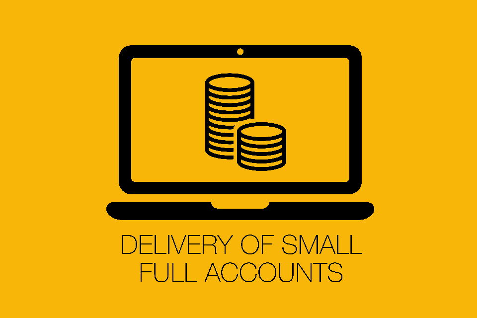 Infographic of a laptop screen with 2 stacks of coins and the title 'delivery of small full accounts'.