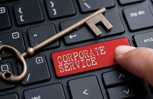 Corporate services key on keyboard