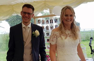 Newlyweds Oliver Daniels and Holly Johnson