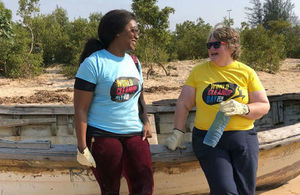 Minister participating in a beach clean in Mozambique