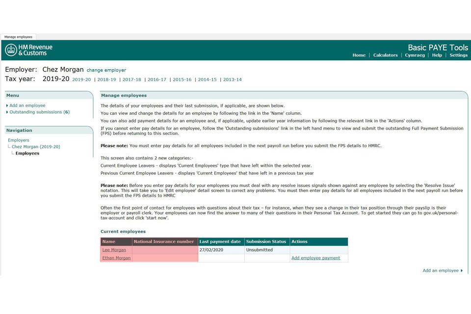 Basic PAYE Tools user guide - GOV UK