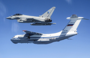 RAF Typhoons intercept a Russian IL-76 military transport aircraft