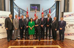 Home Secretary Priti Patel and representatives from Australia, Canada, New Zealand and the US