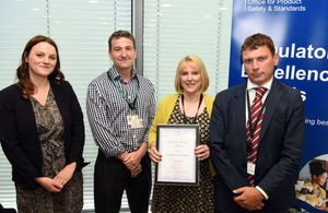 Image shows Rebecca Johnson (judge) Local Government Association; Phil Taylor of Morrisons; Helen Atkinson of Wakefield Council; and David Lovell (judge), OPSS.