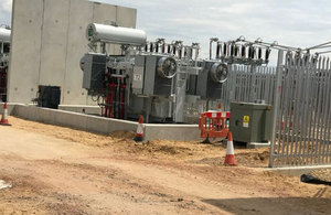 Image of a transformer and switch gear recently installed at RAF Lakenheath