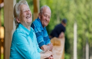 Older woman and man smiling