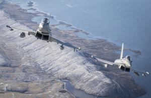 RAF Typhoon jets in flight