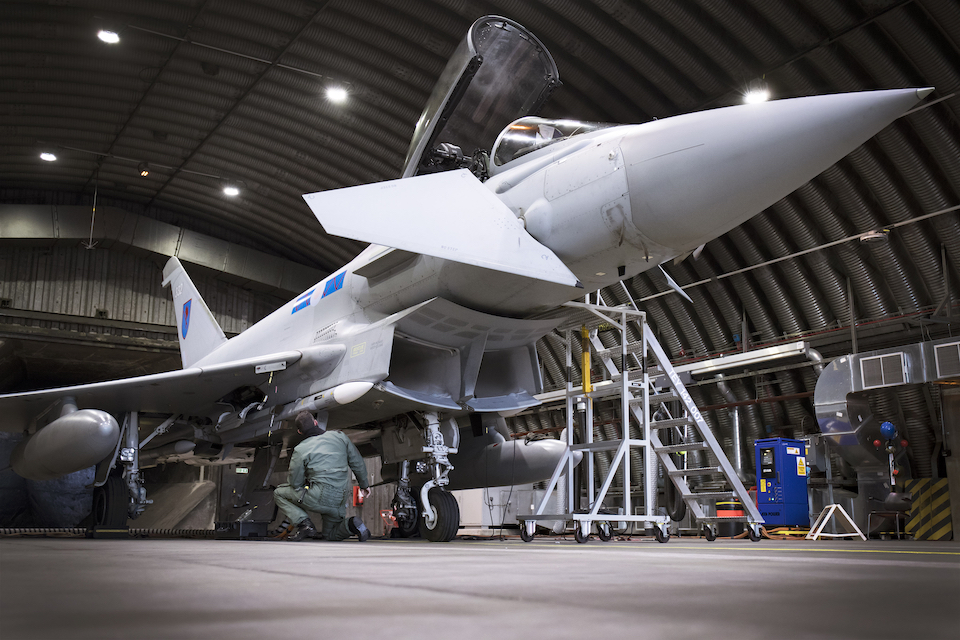 An RAF Typhoon being worked on